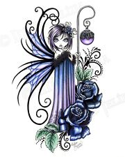 Blue Rose Fairy Gothic Flower Signed Print Magdalene Myka Jelina Art