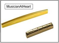 MusicianAtHeart UNIVERSAL FIT Brass NUT / SADDLE Set for Acoustic Guitar