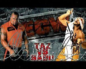 Taz Sabu Super Genie Pic 2 Triple Signed Photo Auto ECW 8x10 COA