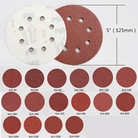 5in 125mm 8 hole Sandpaper Sanding Disc Rotary Hook Loop Sander 60 Grit 100pcs