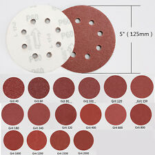5in 8 hole Sandpaper Sanding Disc Rotary Hook Loop Sander mix Grit set 100pcs