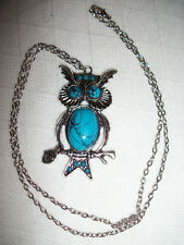 OWL ON TREE BRANCH PENDANT NECKLACE LUCITE TURQUOISE ANTIQUE SILVER PLATED NWOT