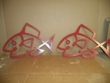 "Pair Metal Fish Wall Art Heavy 18""x12"" Fishing lodge decor/Man cave"