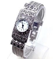 X227T Donna Nuovo Stile Vintage Polso Orologio Argento Diamante Bracciale S Dial