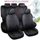 Black PU Leather Car Seat Cover Full Set Front Rear Seat Cushion Mat w/ Zipper