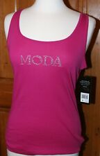 Daisy Fuentes New NWT Moda Shirt My Favorite Tank Top Pink Knit Sleeveless L