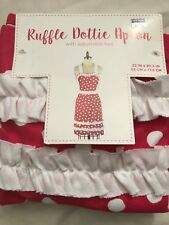 BED BATH & BEYOND RUFFLE DOTTY APRON WITH ADJUSTABLE TIES