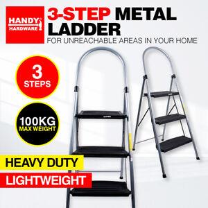 Handy Hardware® 3 Step Metal Ladder Heavy Duty Foldable Home Office Garage