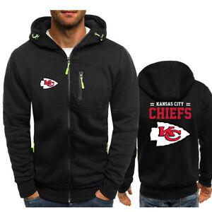 Kansas City Chiefs Fans Hoodie Warm Jacket Sporty Sweatshirt Coat Autumn Tops