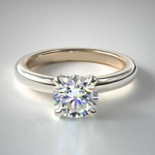 Round Cut 1.00 Ct Diamond Engagement Solitaire Ring 18K  White Gold Band 6.5 7 8