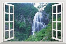 "wall26 Grand Waterfall Green Mountain Open Window Mural Wall Sticker - 24""x32"""