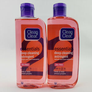2 Clean & Clear Essentials Deep Cleaning Face Astringent Salicylic Acid Acne 8oz