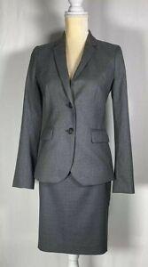J Crew Super 120 Women Suit 0 Blazer No. 2 Pencil Skirt Set of 2 100% Wool Gray