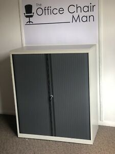 Bisley Side Tambour Grey With Top 2 Shelves and Key 1.05m H X 1.0m 150 Available