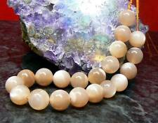 "20 NATURAL SMOOTH ROUND CAT's EYE PEACH MOONSTONE 10mm BEADS 7.75"" STRAND"