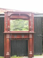 Victorian mahogany fire surround and over mantle 8 ft high x 5 ft wide, approx.