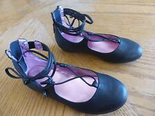 New Girl's Strappy Black Mary Jane Sandals size 12 Nwt easy on & off dressy $45