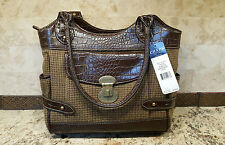 "CHAPS: Tweed Fabric & Brown Faux Leather 11""W x 10""H  Shoulder NWT MSP $79.00"
