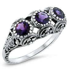 HYDRO AMETHYST ANTIQUE STYLE 925 STERLING SILVER FILIGREE RING SIZE 7,   #420