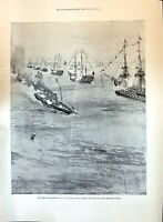 Old Print 1897 Great Naval Review Queen Royal Yacht Ships Seppings Wright 19th