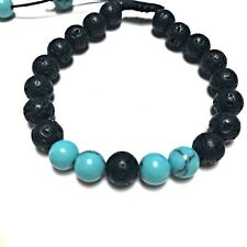 Aromatherapy Bracelet Adjustable Essential Oils Black Blue Jewelry Natural Lava