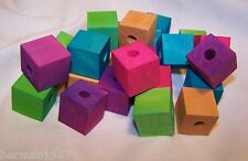 "25 Bird Toy Parts Colored Wood Blocks 3/4"" Square Wooden Parrot Toy W/1/4"" Hole"
