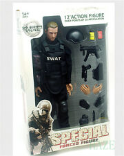 """12""""Soldier Action Figure SWAT Black Uniform Model Toy Military Army Suit hot toy"""