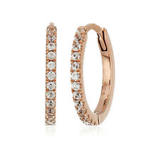 Pinctore 10k Rose Gold White Zircon Small Hoop Earrings