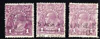 Australia 3 shades of 1d KGV s/crown w/m violet issues