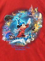 Mickey Mouse Walt Disney World Epcot WHERE MAGIC LIVES Red T Shirt sz 2XL NWOT