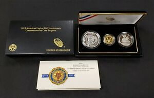 2019 American Legion 100th Anniversary 3 Coin Proof Set - $5 Gold - OGP - G1259
