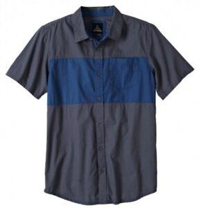 prAna Tiereck Slim Shirt Light Outdoor Shirt from Cotton for Men Coal