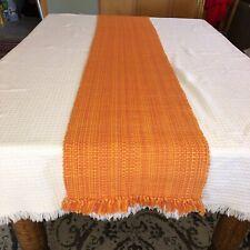Woven Orange Fringe Long Table Runner 1990's