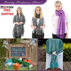 US SELLER-Pashmina Paisley Silk Scarf Shawl Wrap- lots Colors