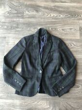 Lucky Brand Women's Wool Blend Plaid Blazer Jacket Blue/Green Size X-Small