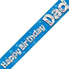 Happy Birthday Dad Party Banner 270cm Long Repeats 3 Times Holographic Blue