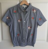 Eri + Ali Anthropologie Womens Embroidered Garden Top Blouse Shirt Size Small