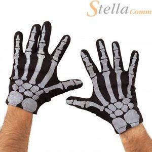 Rubies Skeleton Bone Print Gloves Halloween Goth Fancy Dress Accessory
