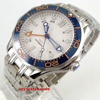 new 41mm bliger sterile white dial sapphire glass GMT date automatic mens watch