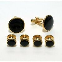 Gold and Black Budget Cufflink and Stud Set