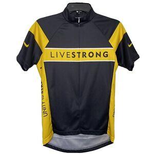 Nike LIVESTRONG Medium Black Yellow Cycling Bike Jersey Top 3/4 Zip Short Sleeve
