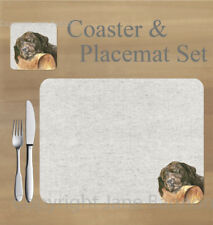 Labrador, chocolate,   placemat and coaster set    by Jane Bannon