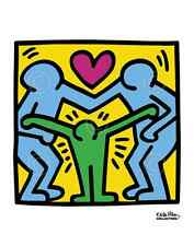 POP ART PRINT - KH11 by Keith Haring 11x14 Family Hug Love Red Heart Poster
