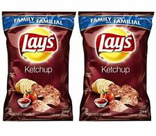 Lays Potato Chips, Ketchup, Large Family size - 2 Pack {Imported from Canada}