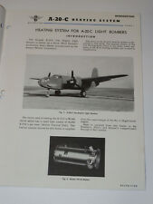 GREAT PICS VINTAGE WWII 1943 DOUGLAS LIGHT BOMBER A-20-C HAVOC HEATER MANUAL 20C