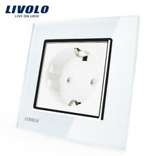 1 Fach Steckdose Weiß Kristall Glas Livolo  VL-C7C1EU-11 Luxus edel Top Design