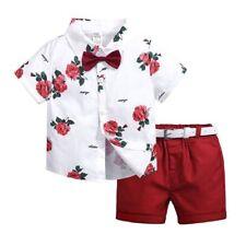 Kids Baby Boys Summer Floral Clothing Short Sleeve T-shirt+Red Short+Belt Sets