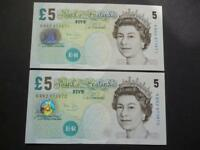 2004 PAIR OF BAILEY UNCIRCULATED £5 NOTES CONSECUTIVE NUMBERS, DUGGLEBY B398.