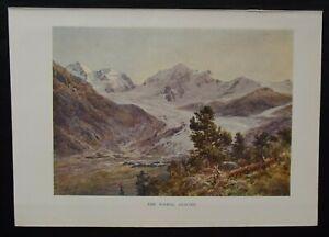 Antique Print: Rosegg Glacier by E T Compton, New Universal Educator, 1899