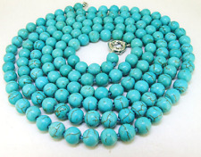 "36"" Lariat Turquoise Necklace Round 8mm turquoise Gemstone Bead Necklace Fashion"